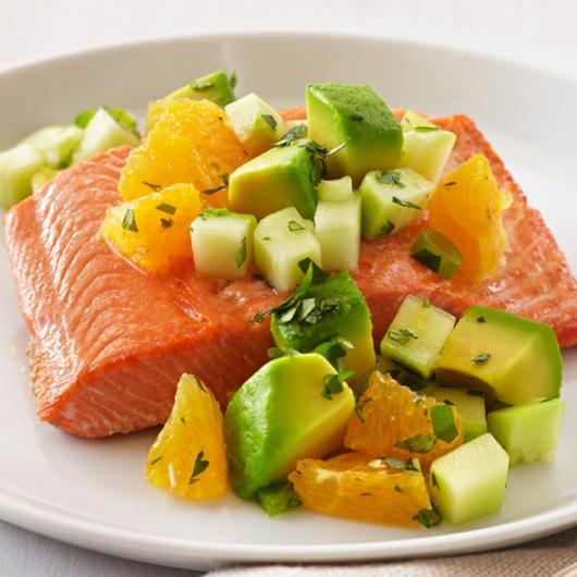 Oven Roasted Salmon With Avocado Citrus Salsa
